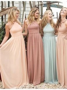 Halter Colorful Bridesmaid Dresses,A-line Chiffon Bridesmaid Dresses,Best sales Prom Dress,BD17232