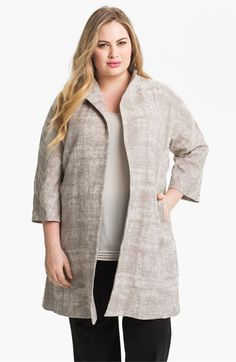 We welcome every plus-size professional woman who wants to build a closet of modern, elegant and well fitting work wear and invite you to visit www.executive-image-consulting.com for more information. Eileen Fisher Funnel Neck A-Line Coat (Plus) available at Nordstrom