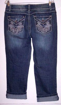 Nine West Capri Jeans 10 Thick Stitch Rhinestone Flap Pocket Stretch Denim Pants #NineWest #stretchdenimCapriCropped
