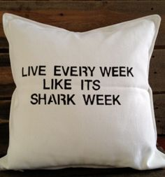 shark pillow | Shark Week Throw Pillow by Saturday Morning Pancakes @ Etsy ($32)