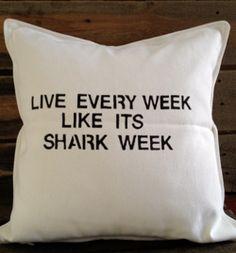 shark pillow | Shark Week Throw Pillow by Saturday Morning Pancakes @ Etsy ($32)