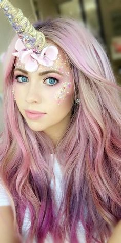 #longhairtips Unicorn Make-up, pink Hair, lilac hair, candy floss hair, unicorn horn | Sexy Hair #makeupideashalloween