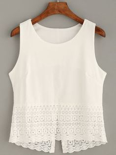 Top crochet tank - blanco-Spanish SheIn(Sheinside)