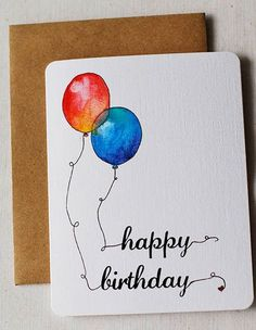 Watercolor Balloons Birthday Card by mistprint on Etsy
