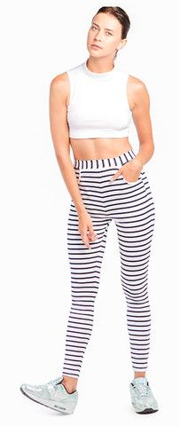 WHITE CROP TOP & STRIPE LEGGINGS Striped Leggings, Crop Tops, Pants, Shopping, Collection, Dresses, Style, Fashion, Vestidos