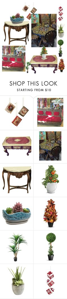 """Antique Vintage Coffee Table"" by era-chandok ❤ liked on Polyvore featuring interior, interiors, interior design, home, home decor, interior decorating, Potting Shed Creations, Improvements, TradeMark and Ethan Allen"