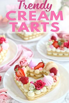 These trendy Cream Tarts are all the rage Also known as cream biscuits or cream cakes you can cut them into letters numbers or shapes and decorate them with fruits flower. Tart Recipes, Cookie Recipes, Dessert Recipes, Cream Biscuits, Cookies Et Biscuits, Chocolate Victoria Sponge Cake, Menu Saint Valentin, Alphabet Cake, Raisin Cake