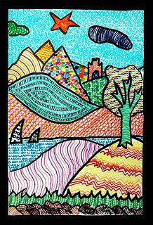 Fantastic landscape idea, great for teaching colour, line and pattern.
