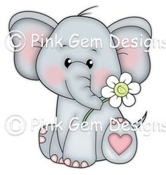 Digi Stamp 'Ella' - Birthday, Elephant, Party Invitations etc