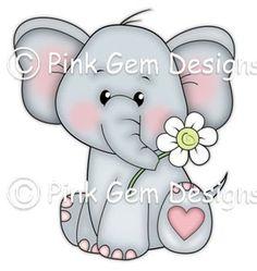 Digi Stamp 'Ella' - Birthday, Elephant, Party Invitations etc