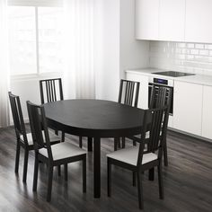 This table is extendable so you always have room for guests and the hidden lock prevents annoying gaps between the leaves. The wipe-clean surface helps you to cope with mealtime spills. Ikea Small Dining Table, Dining Table With Bench, Extendable Dining Table, Dining Chairs, Dining Room, 54 Kg, Bjursta Table, Bench Furniture, Industrial Furniture