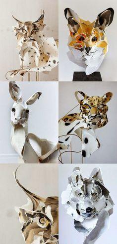 animales felinos hechos con papel