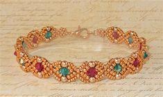 Annabelle's Lace Bracelet Tutorial by BeadyNotions on Etsy Beaded Bracelets Tutorial, Necklace Tutorial, Beaded Bracelet Patterns, Seed Bead Bracelets, Seed Bead Jewelry, Bead Jewellery, Ankle Bracelets, Jewelry Patterns, Beaded Jewelry