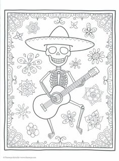 Day of the Dead Coloring Book (Coloring is Fun) (Design Originals) 30 Beginner-Friendly Creative Art Activities with Sugar Skulls on High-Quality Extra-Thick Perforated Paper to Resist Bleed Through Skull Coloring Pages, Halloween Coloring Pages, Animal Coloring Pages, Colouring Pages, Coloring Books, Chic Halloween Decor, Halloween Porch Decorations, Halloween Party Decor, Halloween Art