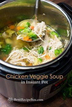 Easy chicken soup recipe in the instant pot pressure cooker. This recipe for chicken vegetable soup is quick, easy, healthy chicken soup recipe