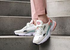 adidas Falcon W (White Tint / Raw White / Trace Pink) - Adidas White Sneakers - Latest and fashionable shoes - Yeezy Outfit, Adidas Outfit, Sneakers Mode, Adidas Sneakers, Pink Sneakers, Adidas Shoes Women, Chunky Sneakers, Trendy Shoes, Cute Shoes
