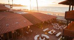 Oceanfront wedding reception at the La Jolla Shores Hotel. Beach wedding.