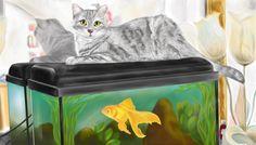 #DessinAnalytique - #Infographie - #PeintureNumérique - Peinture à l'huile - #Animal dans un environnement #intérieur - #Chat sur #aquarium - #Poisson japonais - #Appartement haussmannien - #Miroir - #Reflet dans un miroir - Chat #réaliste - #Penninghen - Audrey DEBARGUE https://fr.pinterest.com/audreydebargue/