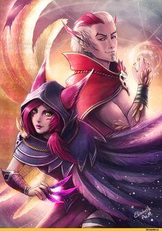 League of Legends,Лига Легенд,фэндомы,Xayah,Rakan,Emeraldus,artist