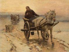"""Zygmunt Ajdukiewicz (1861-1917) """"Jazda wozem zimą"""", olej na desce"""