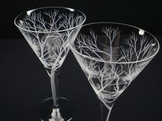 Two Martini Glasses  Hand Engraved  'Reaching by daydreemdesigns, $54.25