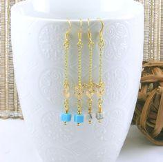 Minimalist Blue Chevron Earrings Chalk Turquoise by JewelrybyMcV