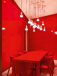 Modern Red Dining Room