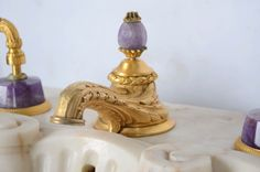 Sherle Wagner Marble Pedestal Sink with Gold-Plated Purple Quartz Fittings