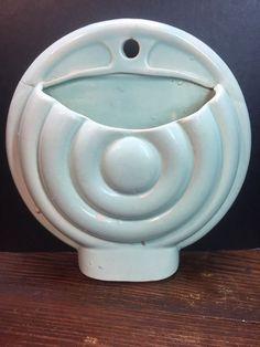 Vintage Art Deco Pottery Round Wall Pocket Vase Turquoise Rare Pattern