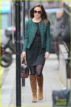 Pippa Middletona in a black dress and tweed blazer by Sandro.  #PippaMiddleton
