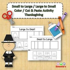 Sort by Size Activity Sheets - Color, Cut, and Paste - Thanksgiving Theme Teaching Toddlers Abc, School Reviews, Learning Letters, Cut And Paste, Activity Sheets, Color Activities, Elementary Math, Worksheets For Kids, Learning Resources