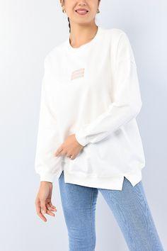 Krem Nakışlı Salaş Bayan Sweat 75600 | ModamızBir | Modamizbir.Com
