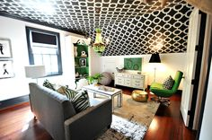 Vintage Modern- Suzie: Lucy and Company - Chic, eclectic green & black family room playroom with black & white ...