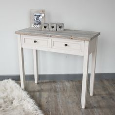 Cotswold Range - 2 Drawer Console Table Painted in mushroom grey with a solid…