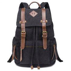 iDream - 2014 nouveau sac à dos sac en toile d'épaule pour école hiking camping randonnée voyage etc. - 32cm * 18cm * 43cm - pour ordinateur jusqu'à 14'' (Noir)