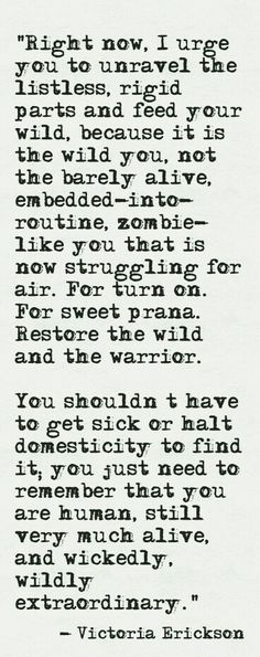 Restore your wild / Victoria Erickson quote / The Words, Cool Words, Victoria Erickson, Great Quotes, Quotes To Live By, Inspirational Quotes, Motivational Quotes, Words Quotes, Me Quotes