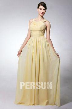 Schlichtes Rund-Ausschnitt gefaltetes bodenlanges Chiffon Brautjungfernkleid