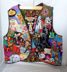 Woman's Wearable Art Vest Day of the Dead One of a by Quiltwear, $130.00
