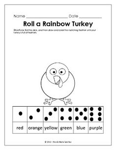 Kindergarten Common Core Math Activity - November Roll A R