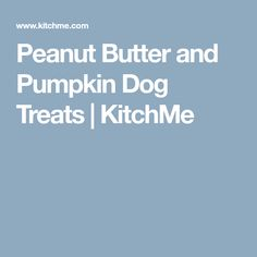 Peanut Butter and Pumpkin Dog Treats | KitchMe
