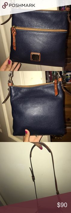 DOONEY & BOURKE side bag Navy blue and brown perfect for everyday Dooney & Bourke Bags Crossbody Bags