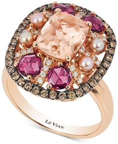 Le Vian Chocolatier Multi-Gemstone (2-1/2 ct. t.w.) Pearl (2-1/2mm) and Diamond (2/5 ct. t.w.) Ring in 14k Rose Gold