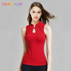 #FASHION #NEW Colorvalue Retro Chinese Style Fitness Dance Vest Women Chic Mandarin Collar Yoga Vest Slim Fit Sport Tank Tops with Chest…