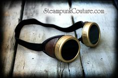 Aged gold brass and brown Steampunk goggles by SteampunkCouture