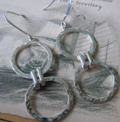 Hammered Sterling Silver Hoops Double Circle by MaroonedJewelry, $35.00