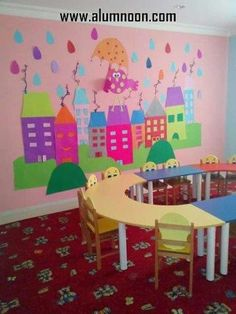love that mural Class Decoration, School Decorations, Classroom Board, Classroom Decor, Bulletin Board, Kindergarten Classroom, School Classroom, Art For Kids, Crafts For Kids