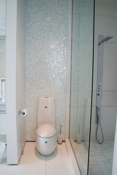 White 1 x 1 pearl shell tile grey floor tiles gray for Bisazza bathroom ideas