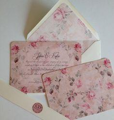 Dusky Pink Vintage Rose Wedding Invitations. Vintage wedding, wedding stationery, pink rose, ivory.