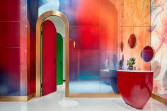 Do DIY wall decoration in boho style yourself – Homedesign NewlifeIdeas Red Bathroom Decor, Bathroom Styling, Diy Wall Decor, Office Interior Design, Interior And Exterior, Interior Decorating, Diy Design, Modern Design, Hotel Lounge