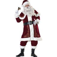 Mens Teen Crimson Santa Claus Father Christmas Fancy Dress Costume Outfit XS-XL